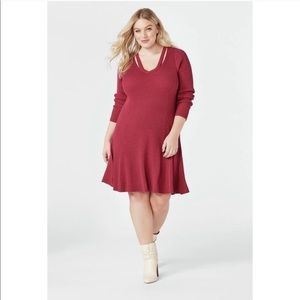 JustFab Cutout Fit & Flare Sweater Dress Red Pink